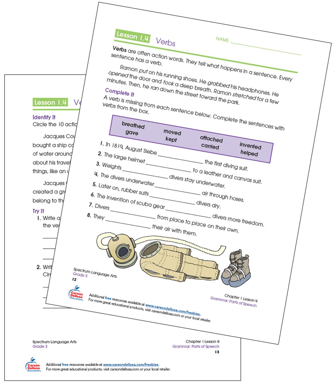 hight resolution of Identifying Verbs Grade 3 Free Printable   Carson Dellosa