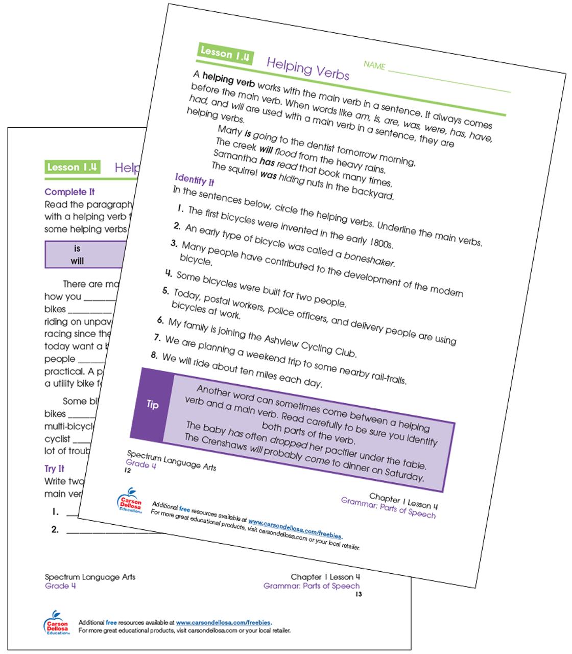 Helping Verbs Grade 4 Free Printable   Carson Dellosa [ 1280 x 1120 Pixel ]