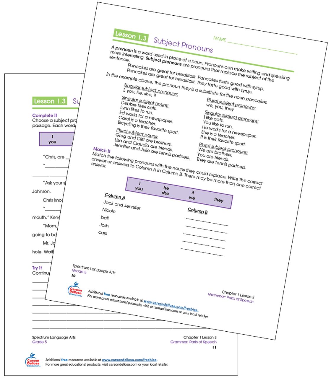hight resolution of Subject Pronouns Grade 5 Free Printable   Carson Dellosa