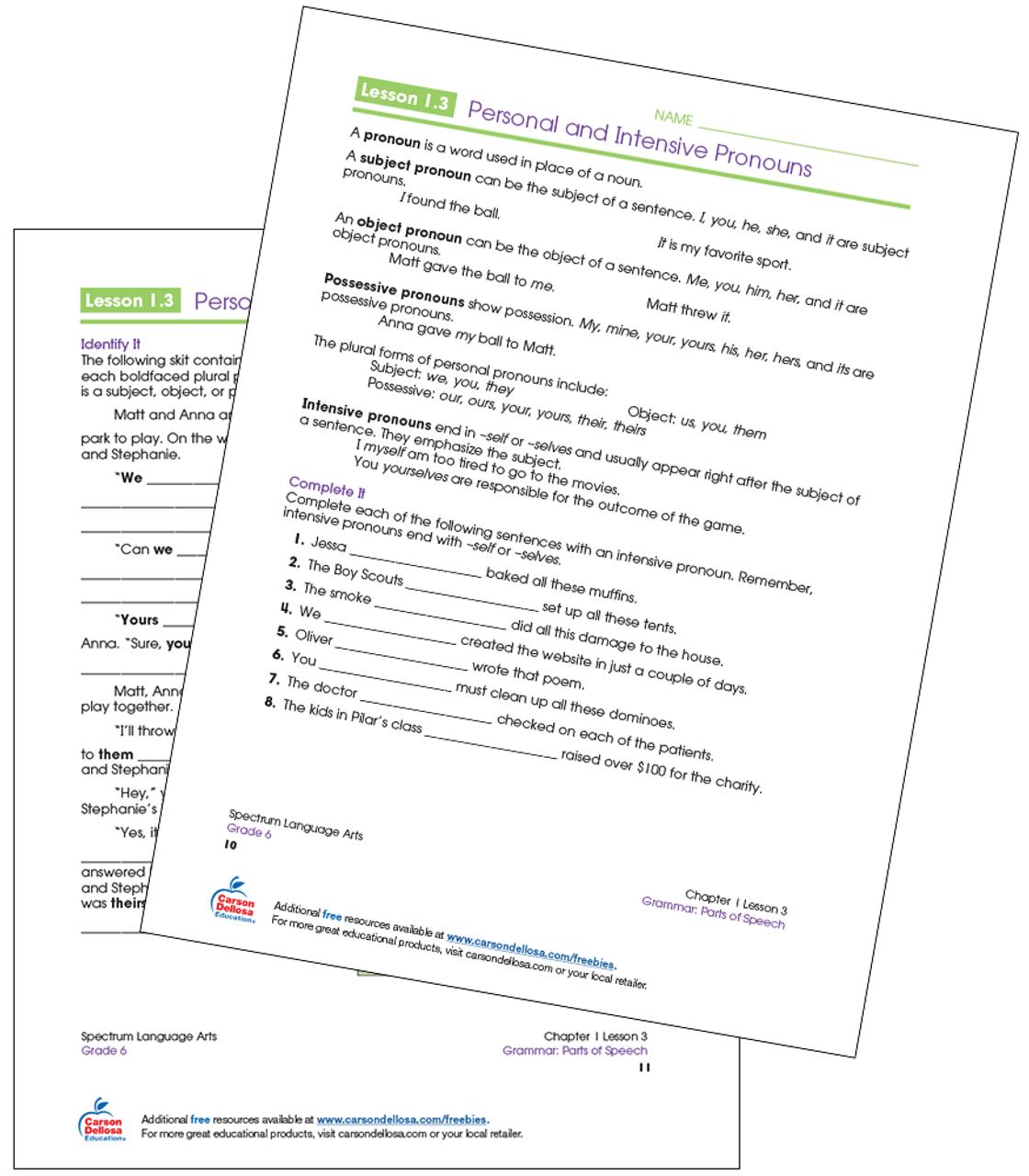 Personal and Intensive Pronouns Grade 6 Free Printable   Carson Dellosa [ 1280 x 1120 Pixel ]
