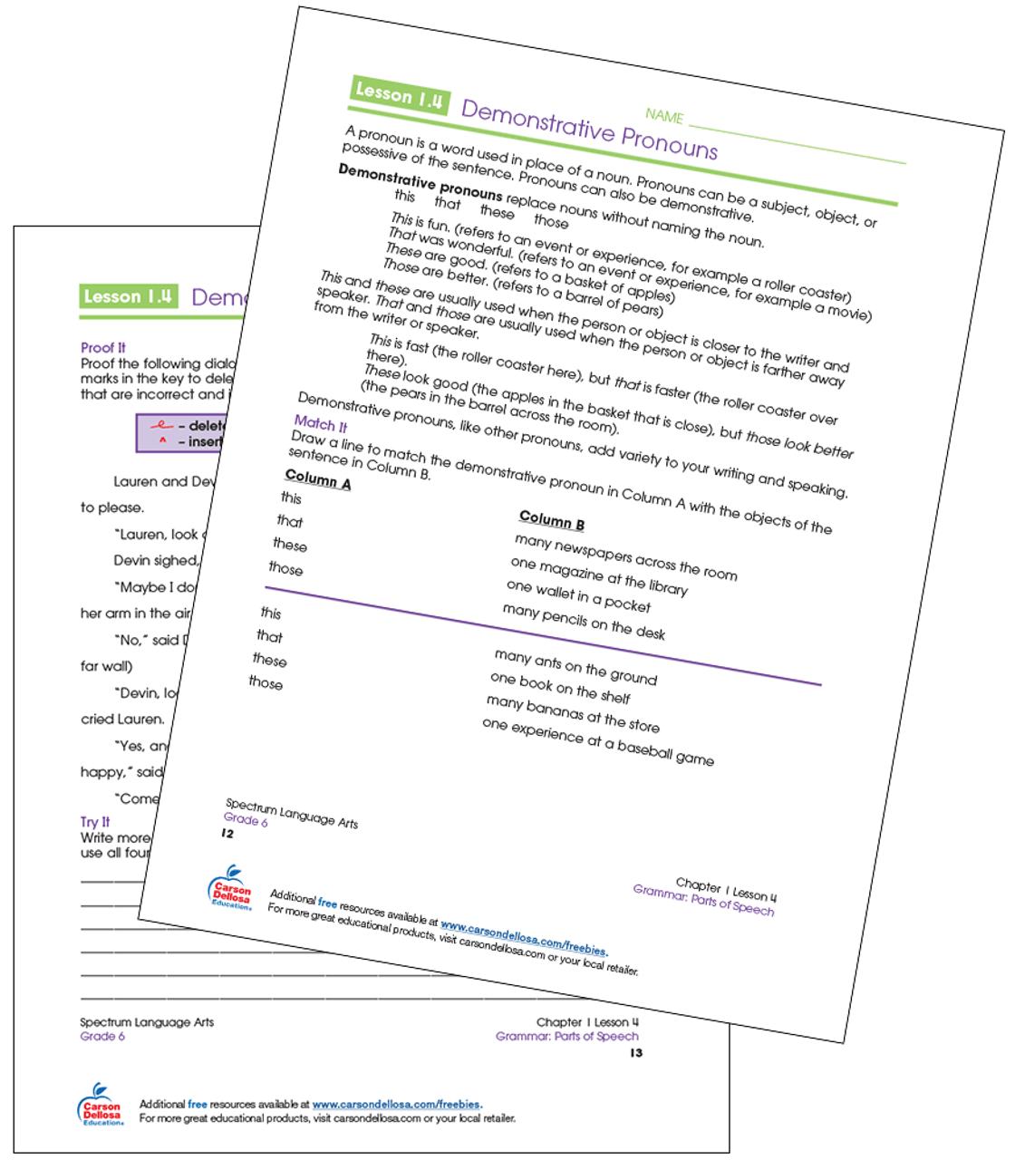 Demonstrative Pronouns Grade 6 Free Printable   Carson Dellosa [ 1280 x 1120 Pixel ]