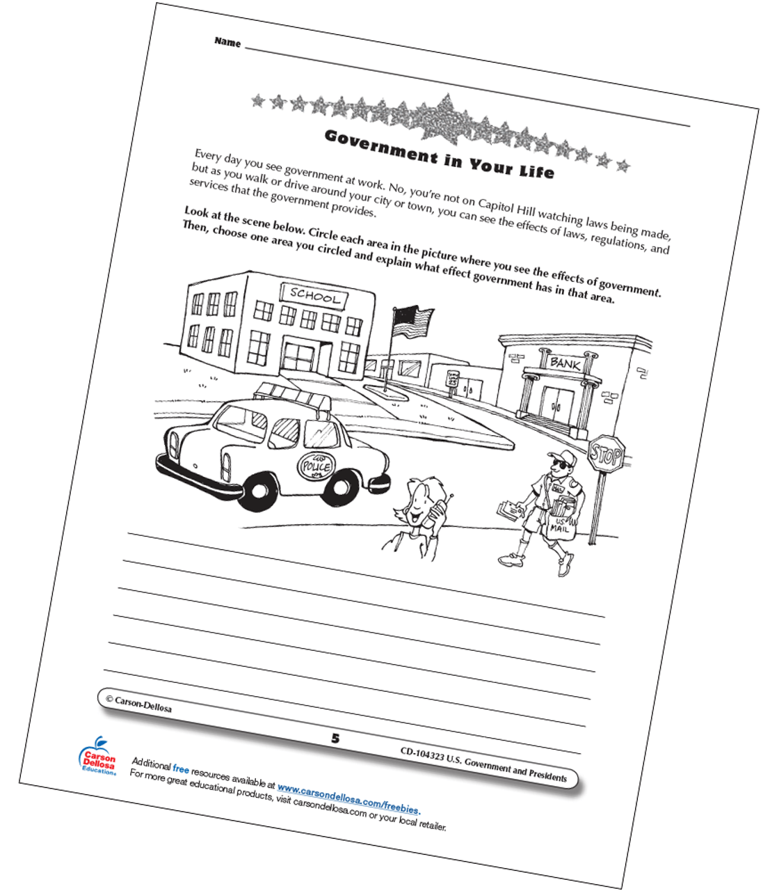 small resolution of Identify Government in Your Life Grades 3-5 Free Printable   Carson Dellosa