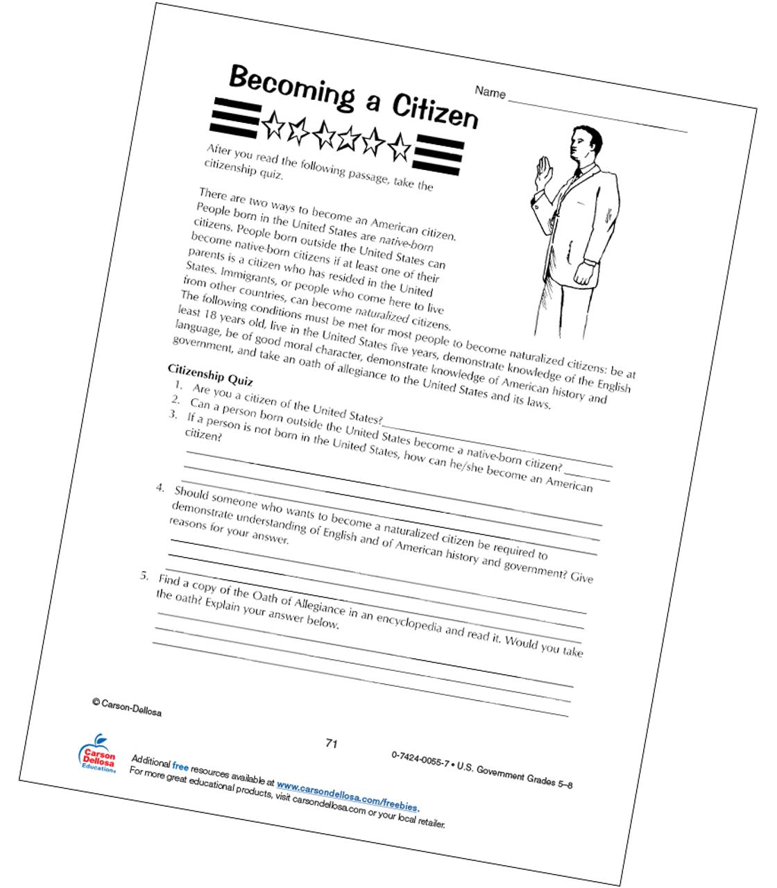 Becoming a U.S. Citizen Grades 5-8 Free Printable   Carson Dellosa [ 1280 x 1120 Pixel ]