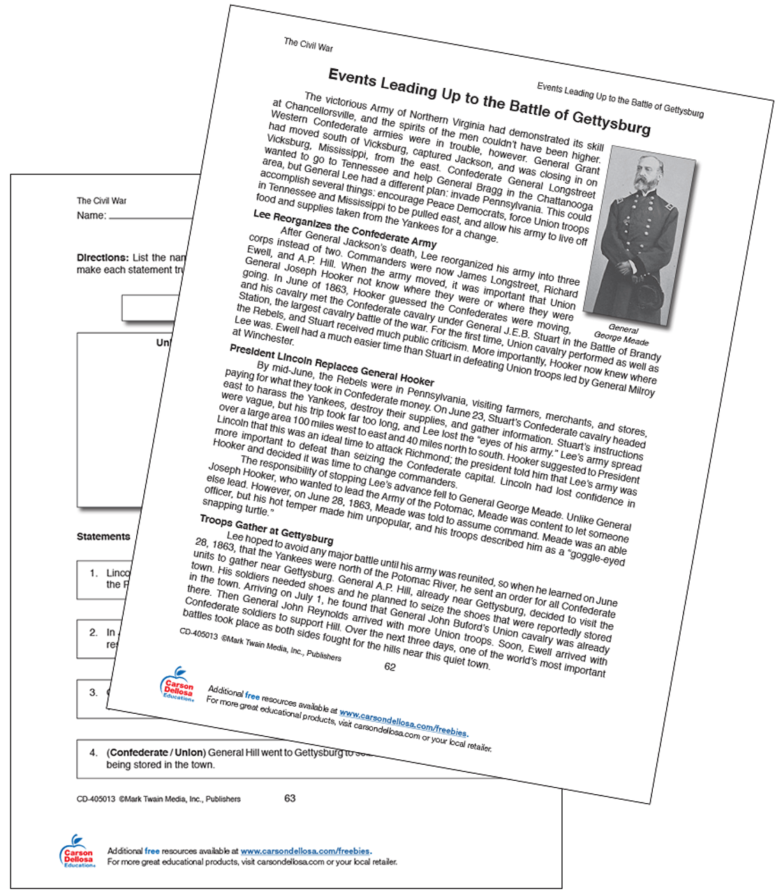 medium resolution of Events Leading Up to the Battle of Gettysburg Grade 5-12 Free Printable    Carson Dellosa