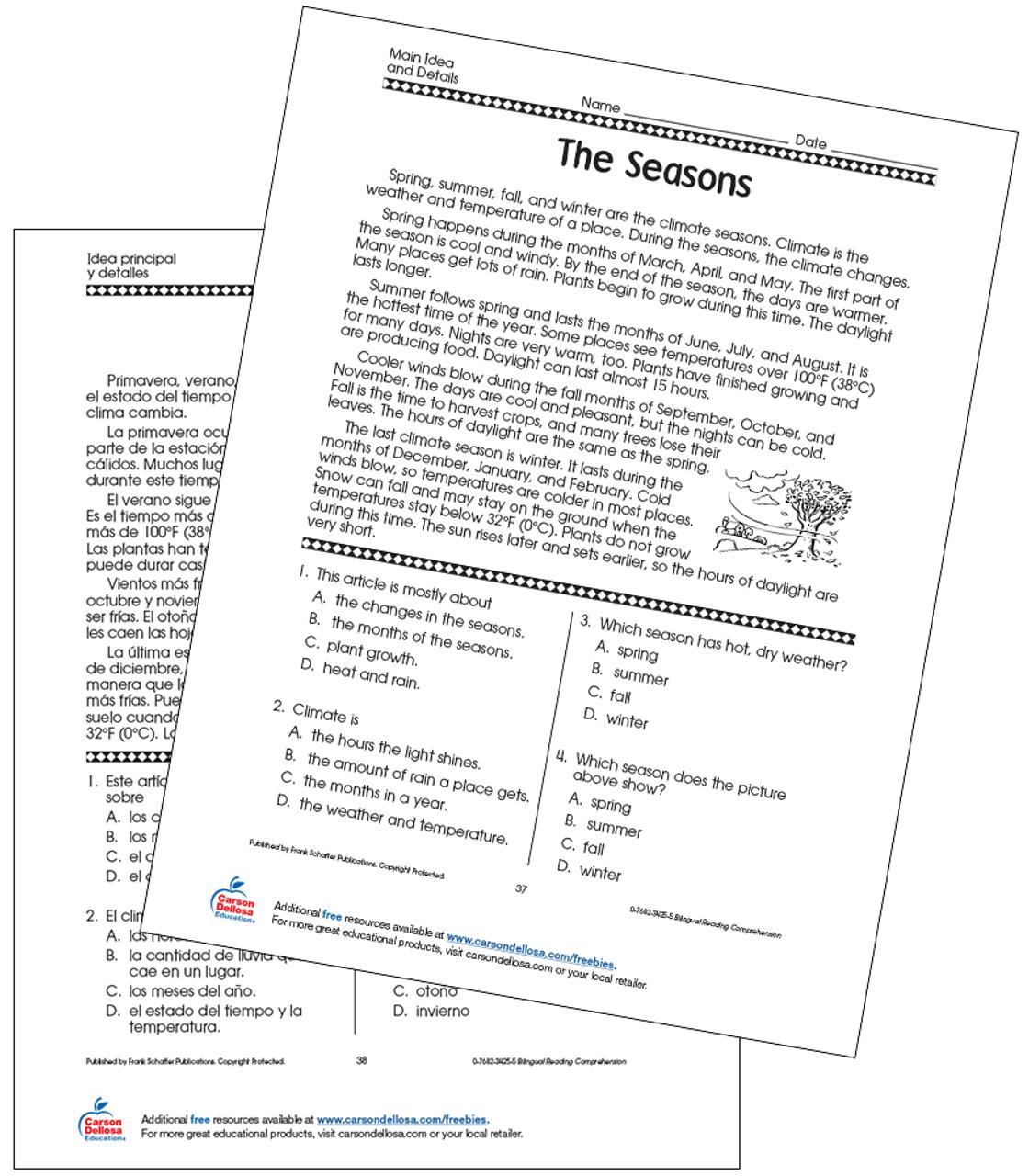 hight resolution of The Seasons Grade 5 Bilingual Free Printable   Carson Dellosa
