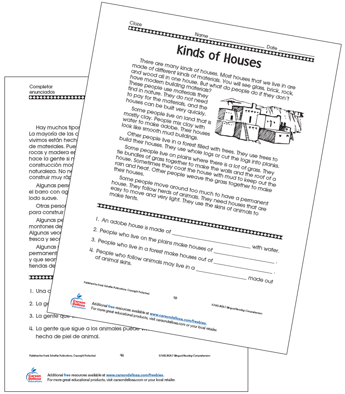 small resolution of Different Kinds of Houses Grade 4 Bilingual Free Printable   Carson Dellosa