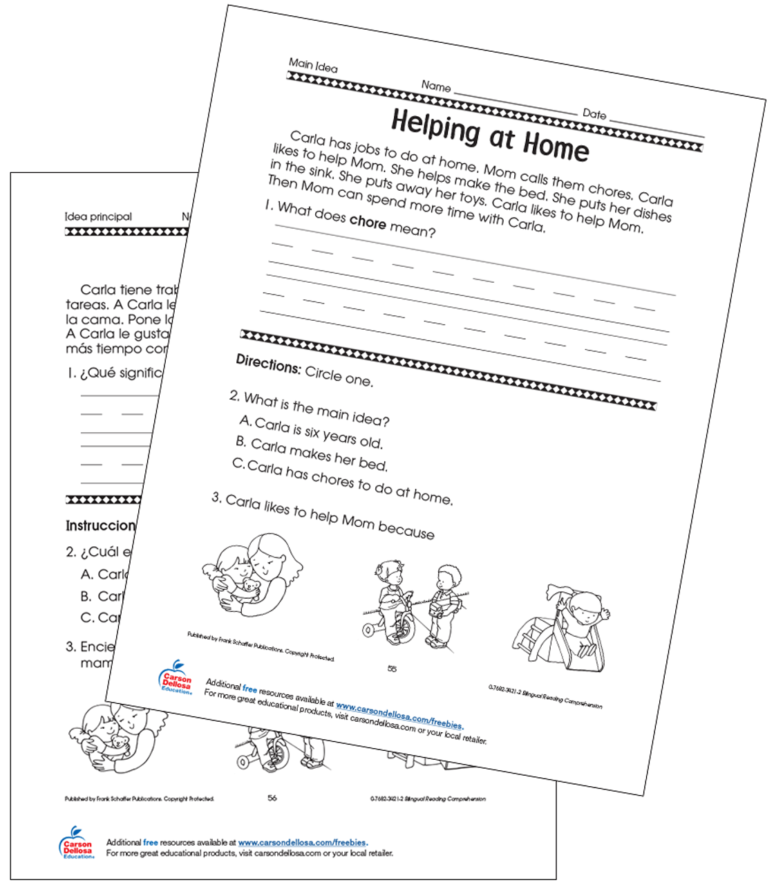 Helping at Home Grade 1 Bilingual Free Printable   Carson Dellosa [ 1280 x 1120 Pixel ]