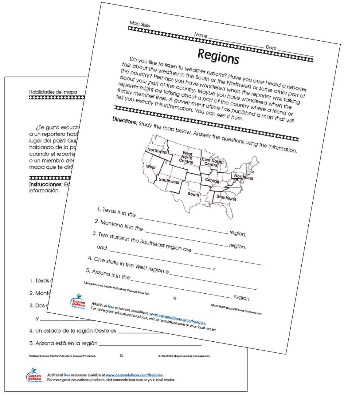 US Regions Grade 3 Bilingual Free Printable   Carson Dellosa [ 1280 x 1120 Pixel ]