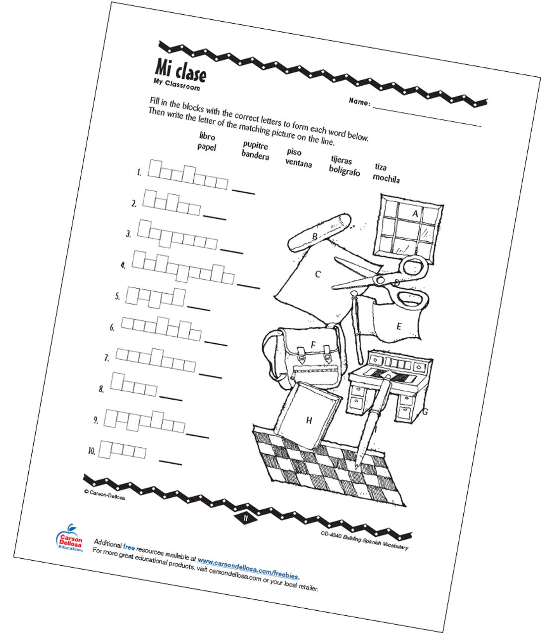medium resolution of My Classroom Grade PK-12 Spanish Free Printable   Carson Dellosa