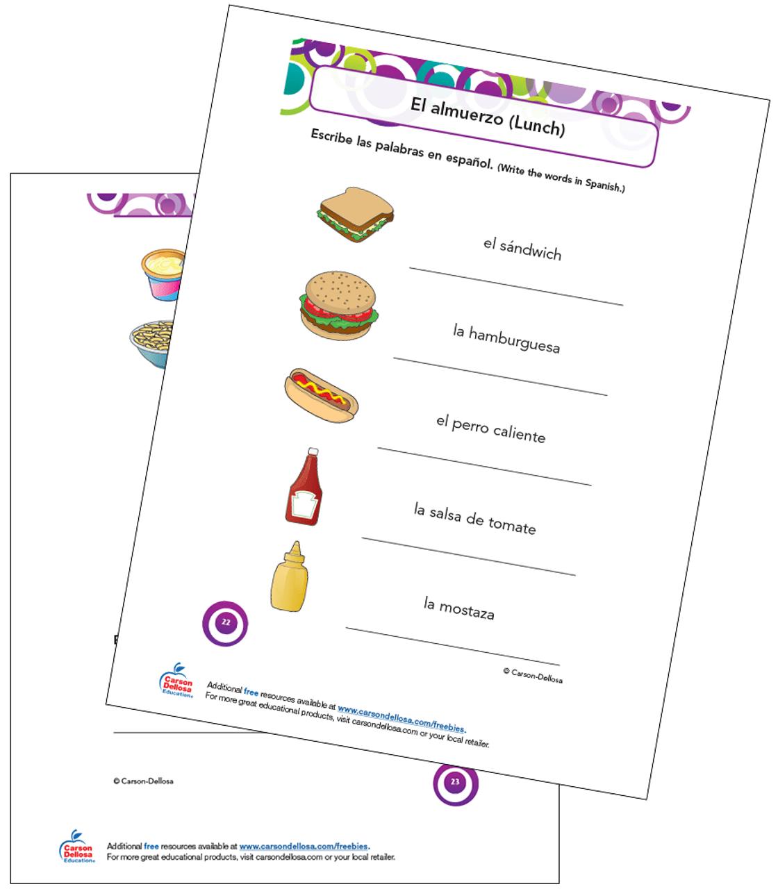 Lunch Vocabulary Grade K-5 Spanish Free Printable   Carson Dellosa [ 1280 x 1120 Pixel ]