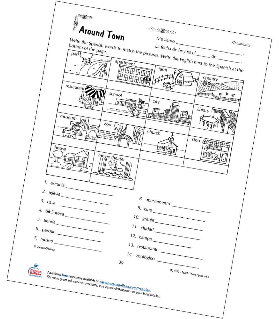 medium resolution of Places Around Town Grade 3 Spanish Free Printable   Carson Dellosa