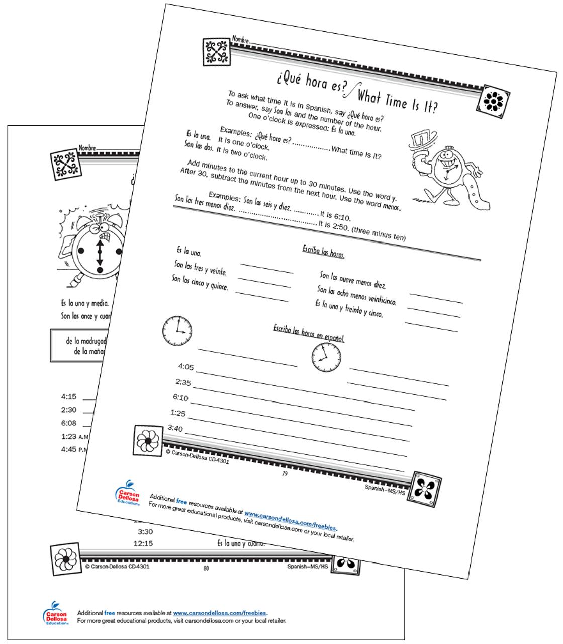 Time Vocabulary and Expressions Grade 6-12 Spanish Free Printable   Carson  Dellosa [ 1280 x 1120 Pixel ]