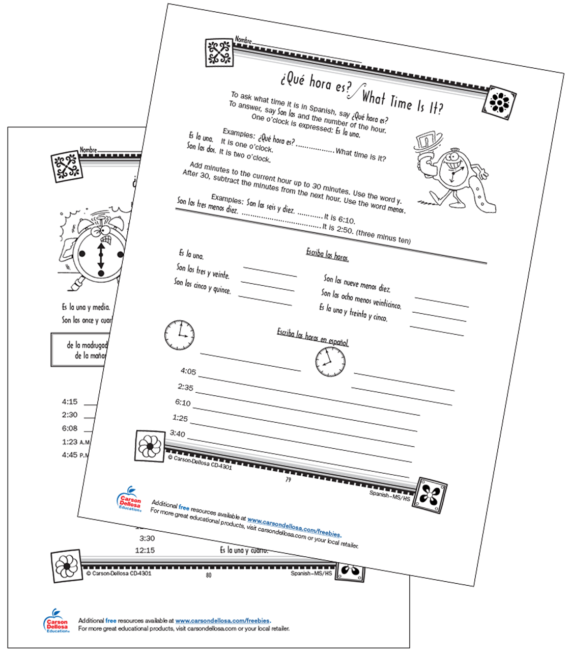 hight resolution of Time Vocabulary and Expressions Grade 6-12 Spanish Free Printable   Carson  Dellosa
