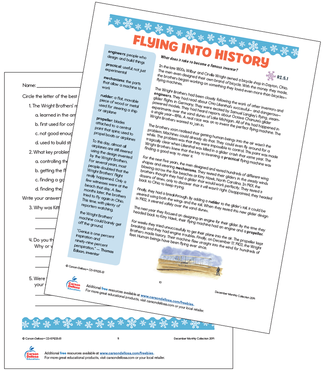 Flying Into History With The Wright Brothers Grade 5 Free Printable    Carson Dellosa [ 1280 x 1120 Pixel ]