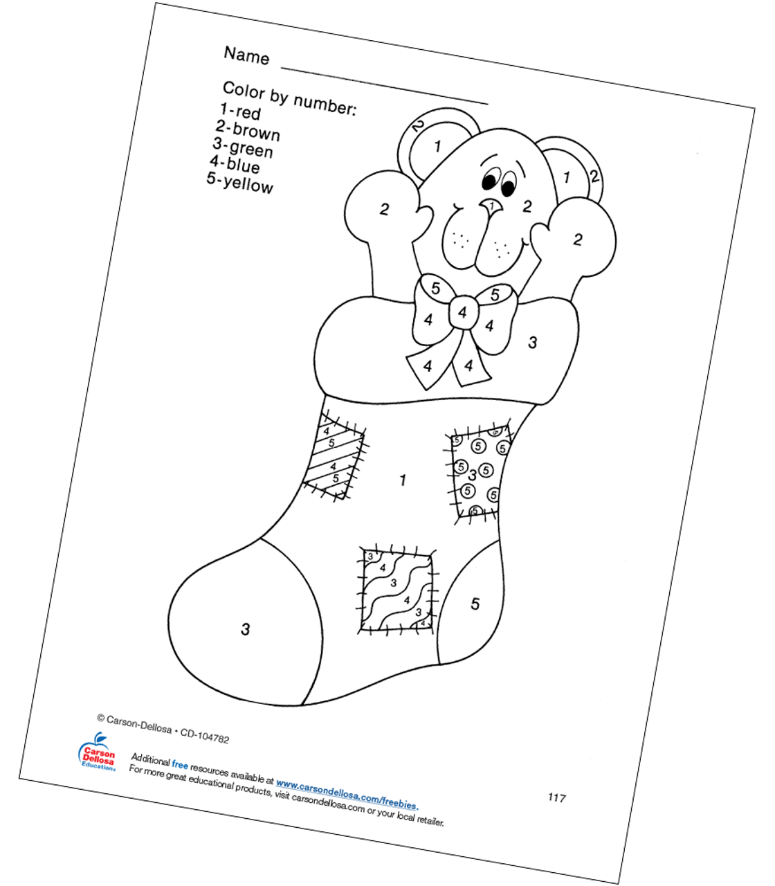 Christmas Stocking Color By Number Grades Pk 1 Free Printable Carson Dellosa