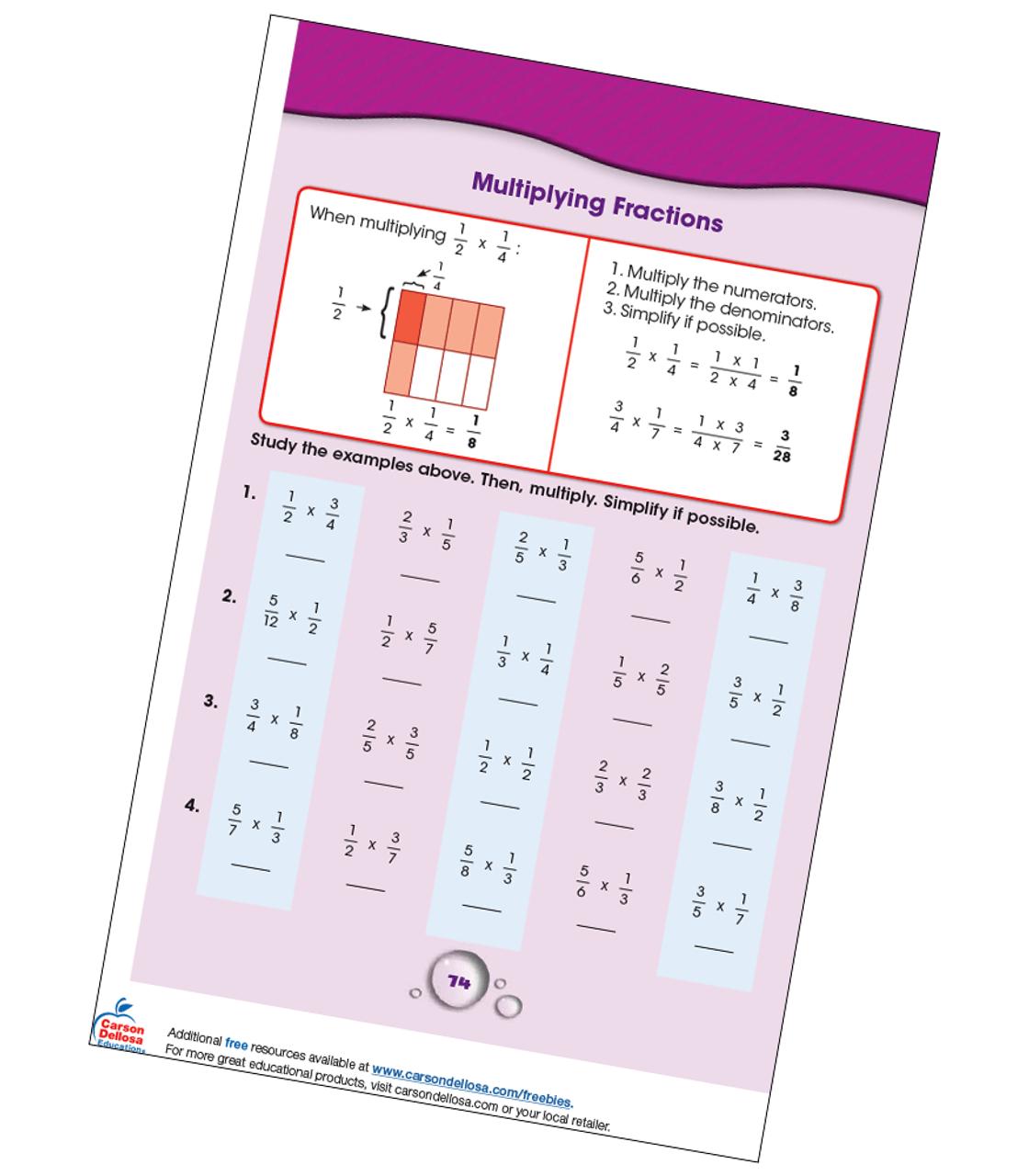Multiplying Fractions Grade 4-5 Free Printable   Carson Dellosa [ 1280 x 1120 Pixel ]