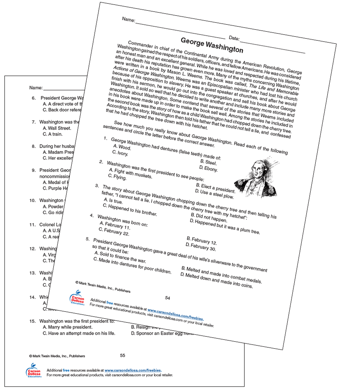medium resolution of George Washington Grade 5-8 Free Printable   Carson Dellosa