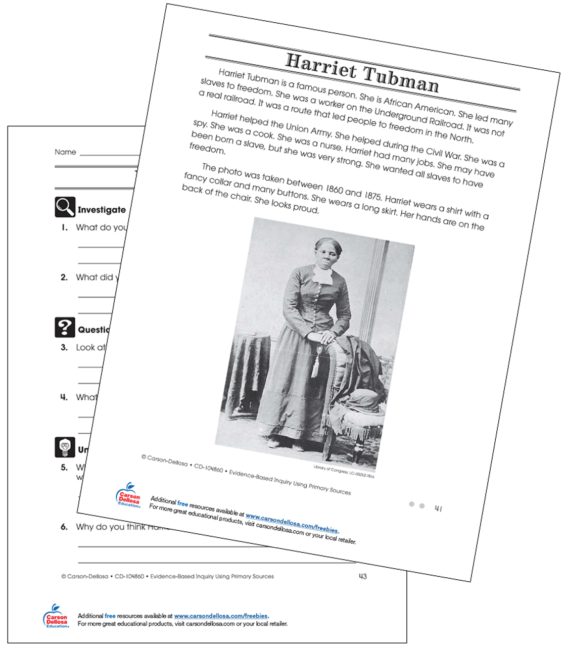 Harriet Tubman Grade 2 (On Grade Level) Free Printable   Carson Dellosa [ 1280 x 1120 Pixel ]