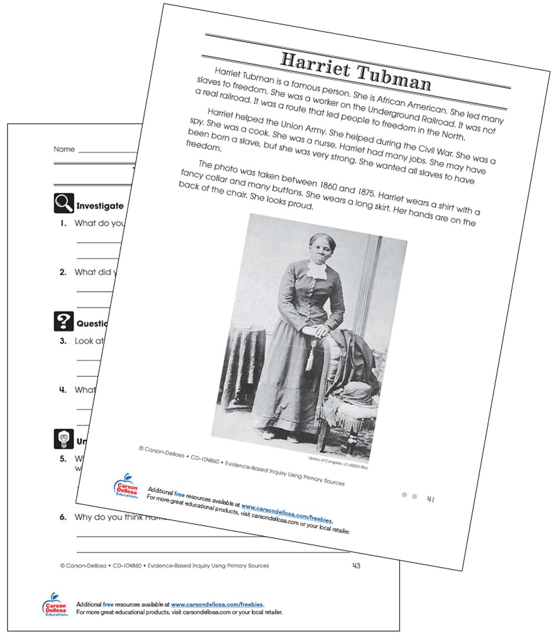 Harriet Tubman Grade 2 (On Grade Level) Free Printable   Carson Dellosa [ 1280 x 1120 Pixel ]