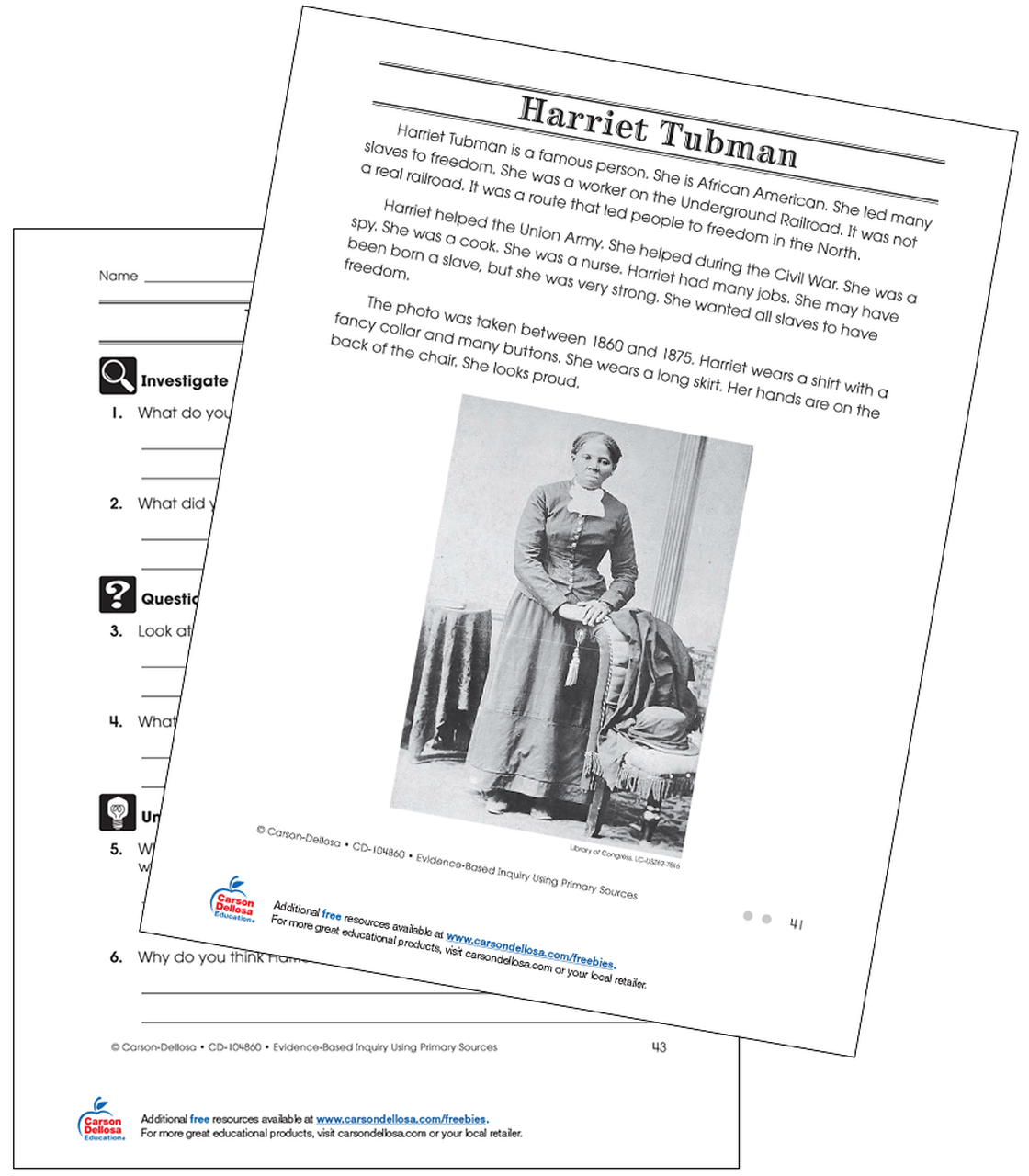 medium resolution of Harriet Tubman Grade 2 (On Grade Level) Free Printable   Carson Dellosa