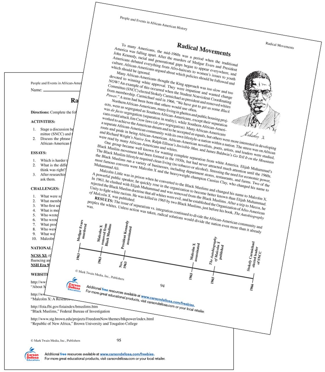 hight resolution of Malcolm X Grades 6+ Free Printable   Carson Dellosa