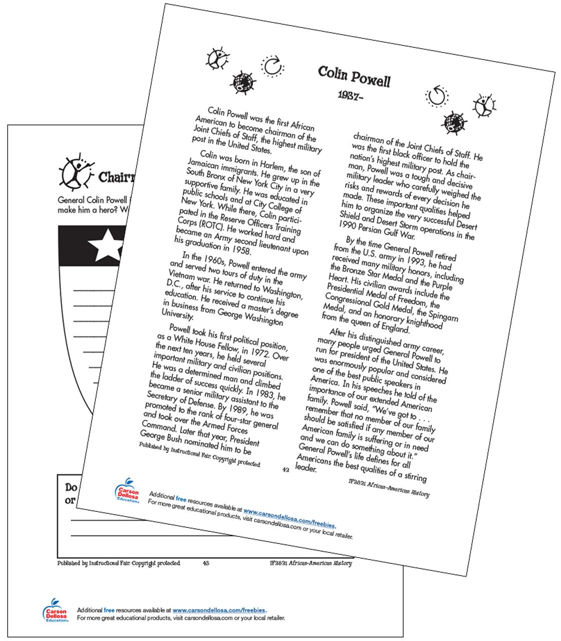 hight resolution of Colin Powell Grades 3-5 Free Printable   Carson Dellosa