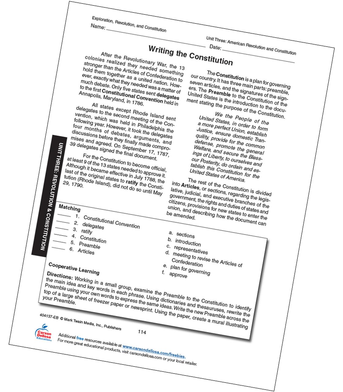 Writing the Constitution Grades 6-12 Free Printable   Carson Dellosa [ 1280 x 1120 Pixel ]