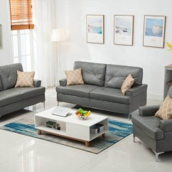 Grey Living Room Set Wall Colors For With Black Furniture Skyhouse 3 Pcs Sofa Loveseat Chair Hh Gry Chairclean And Modern