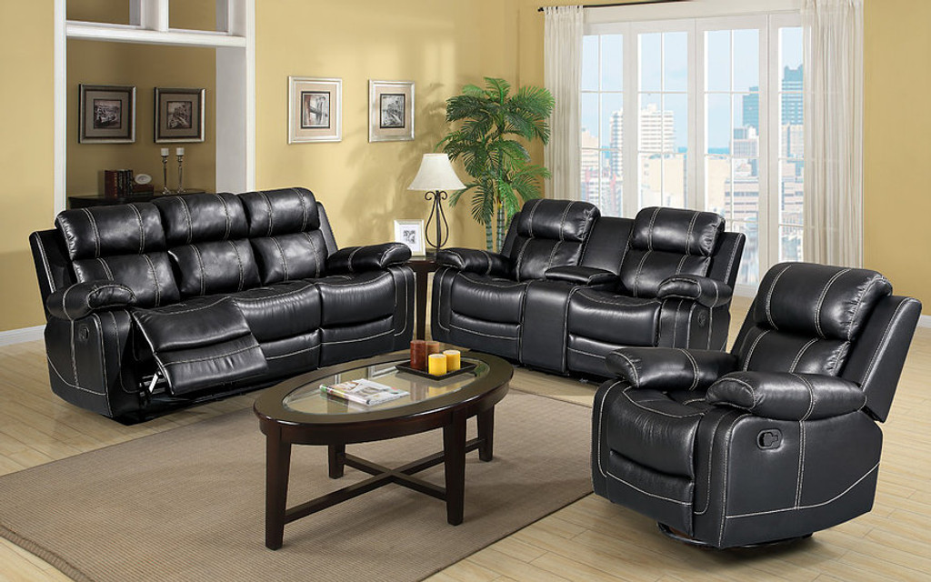 black reclining sofa with console wooden set designs photos s3008 2pcs grace and loveseat collection by