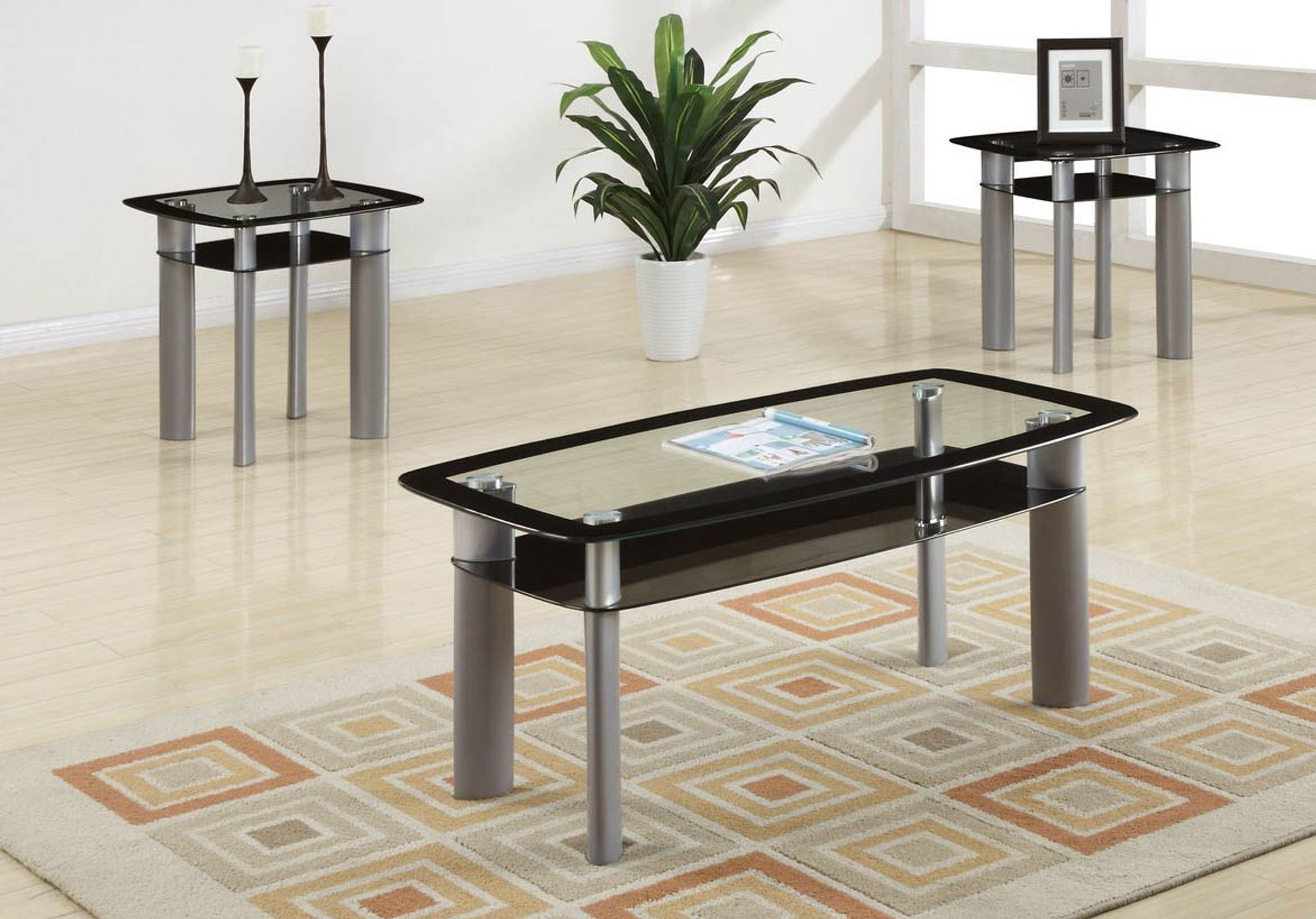 3pcs coffee table set in silver black glass