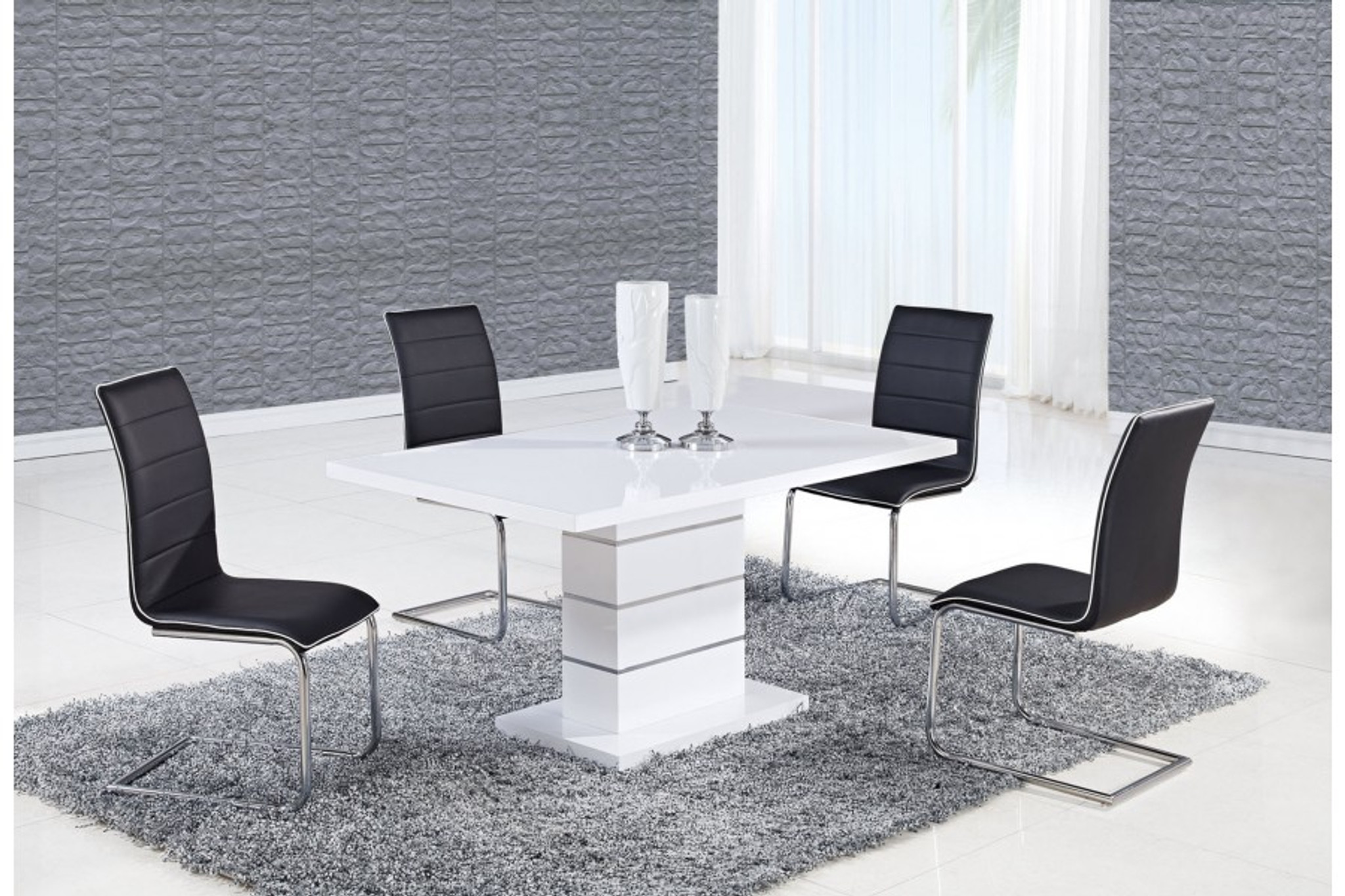 Alexia 5 Pcs Contemporary Set 4 Black Chairs And White Modern Table Kassa Mall Home Furniture