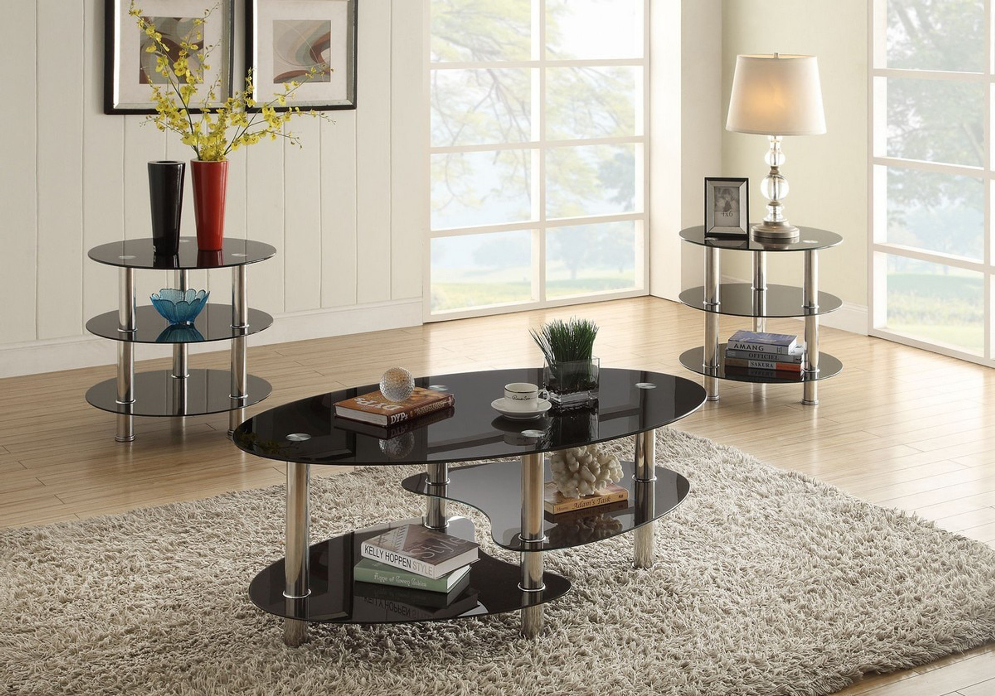 3pc tempered glass top coffee table end table set