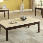 Kassa Mall Home Furniture F3126 3pc Sleek Cream Faux Marble Top Coffee Table End Table Set