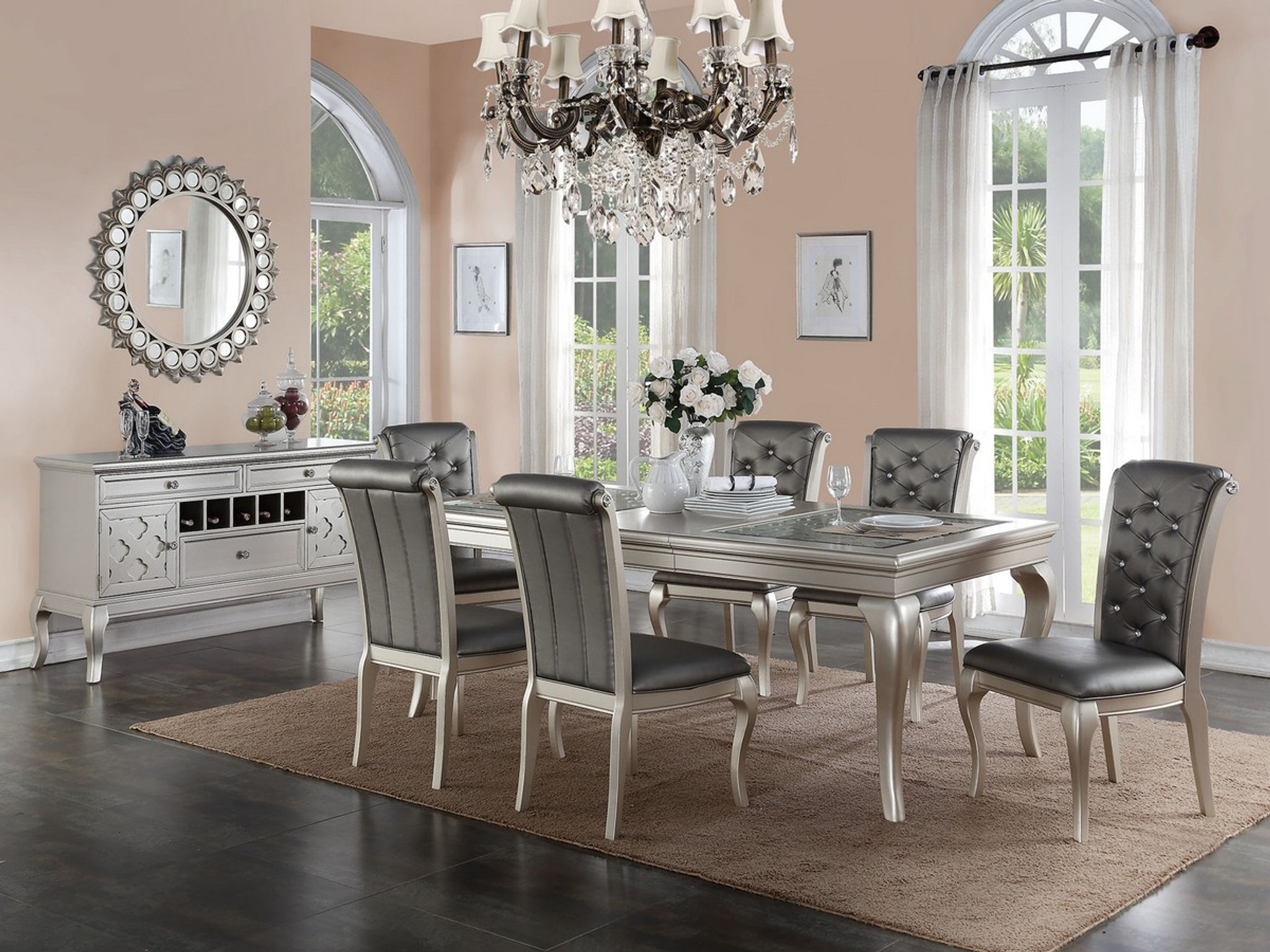 formal living room set home decorators kassa mall furniture f2151 f1540 f6067 5 piece dining table in antique silver finish