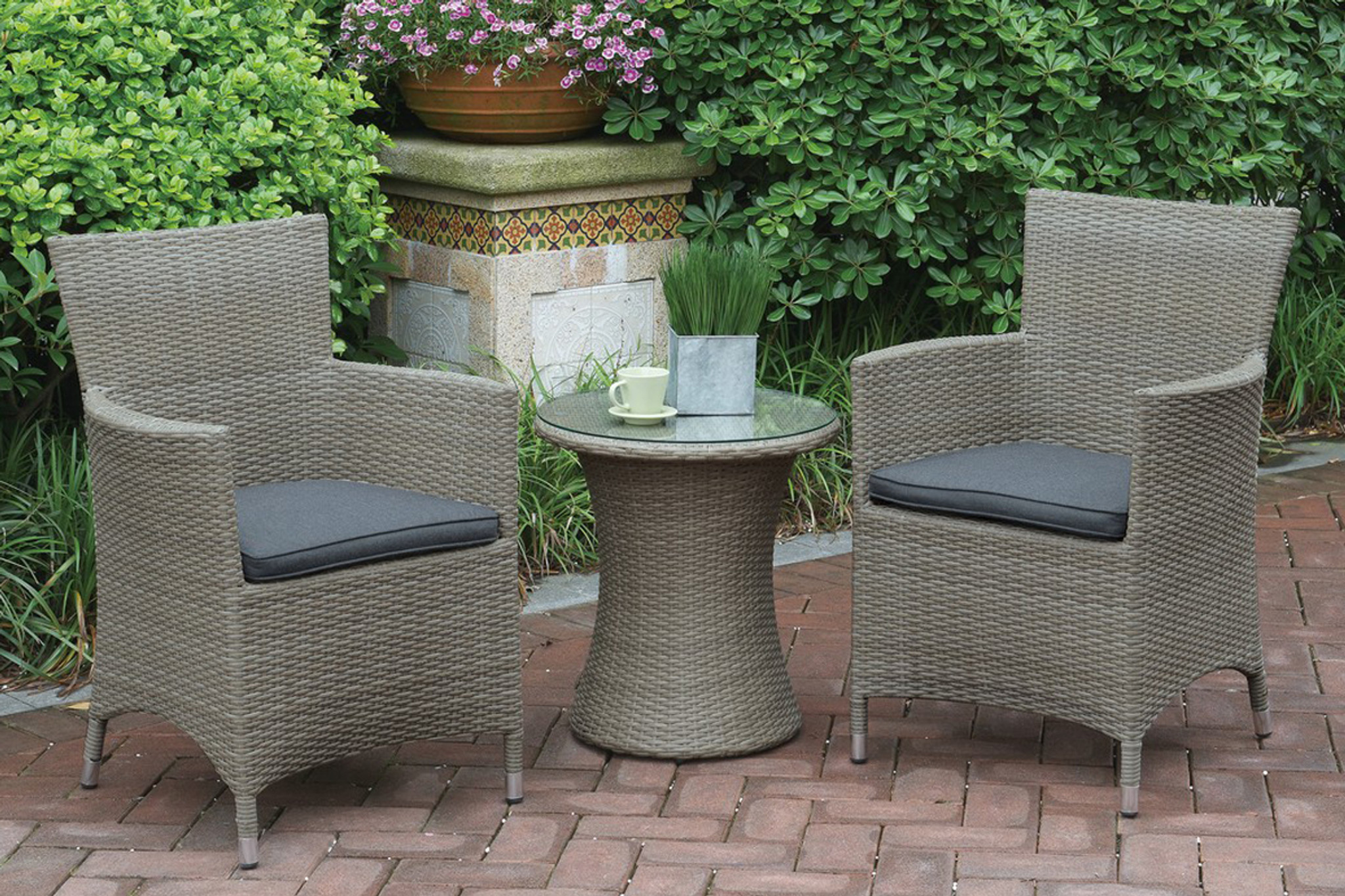 Metal Bistro Table And Chairs 3pc Outdoor Bistro Set In Light Grey Finish