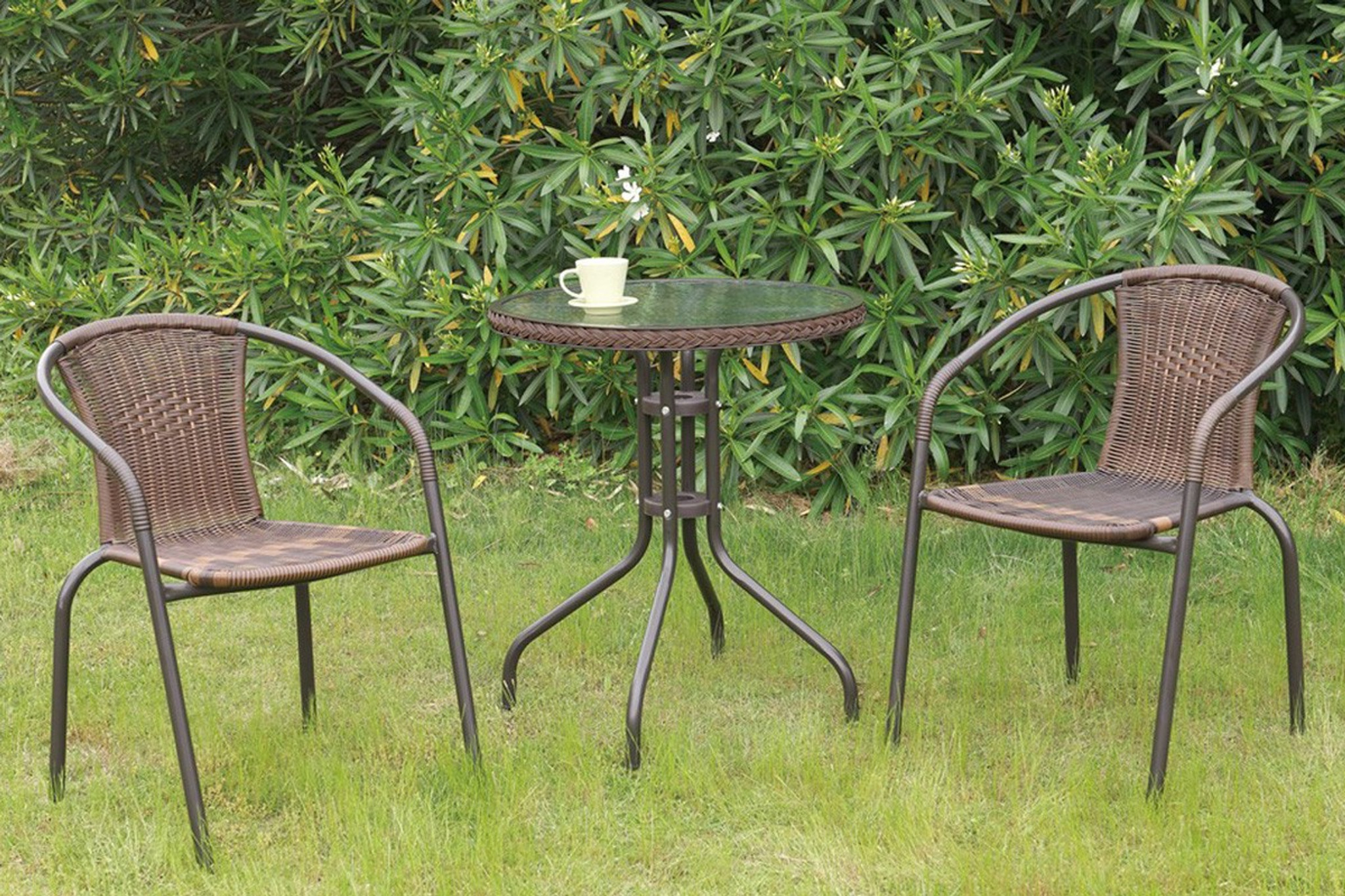 Metal Bistro Table And Chairs 3pc Outdoor Bistro Set Brown Finish