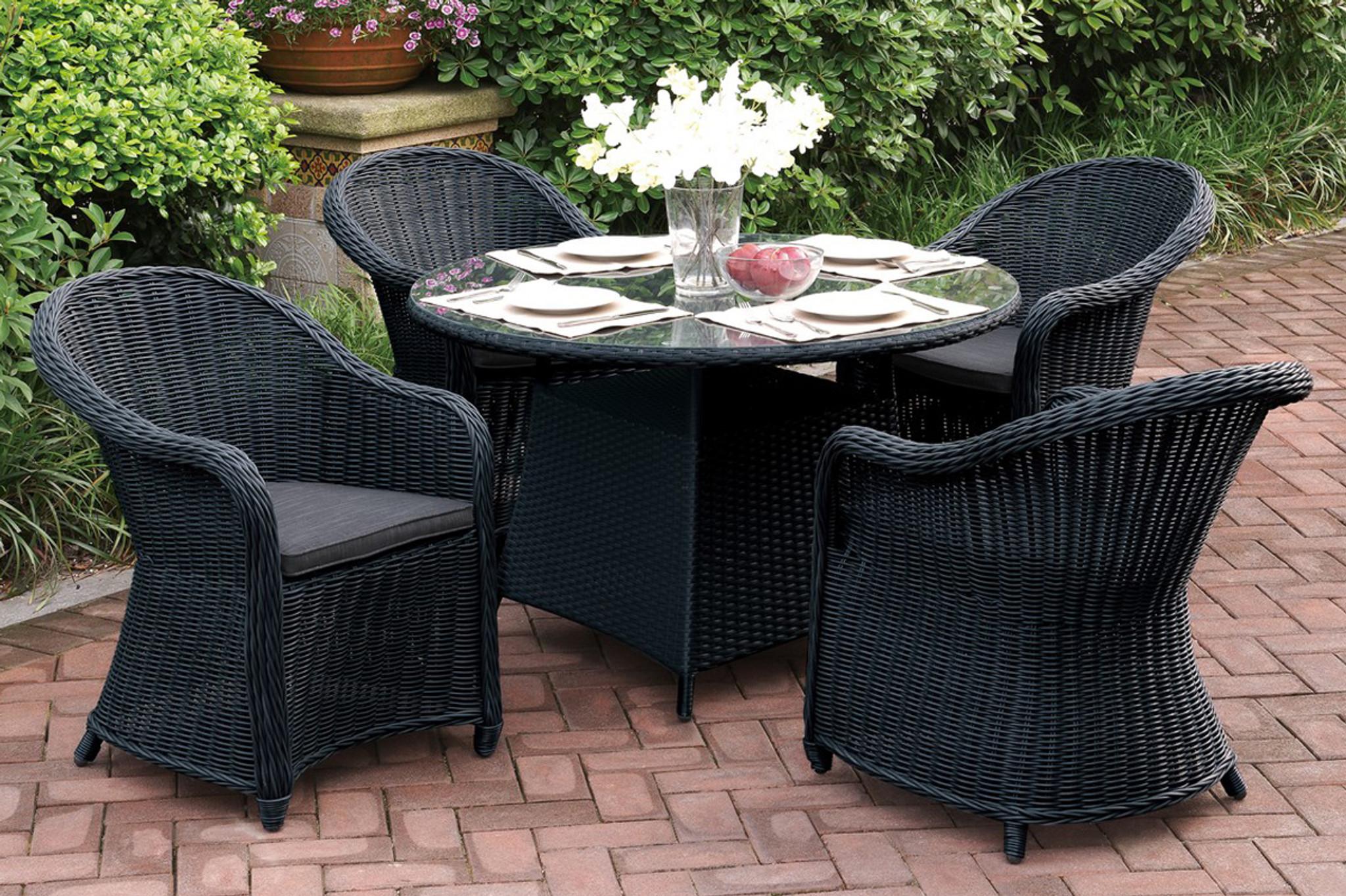 5pcs outdoor patio round table set in dark brown resin wicker