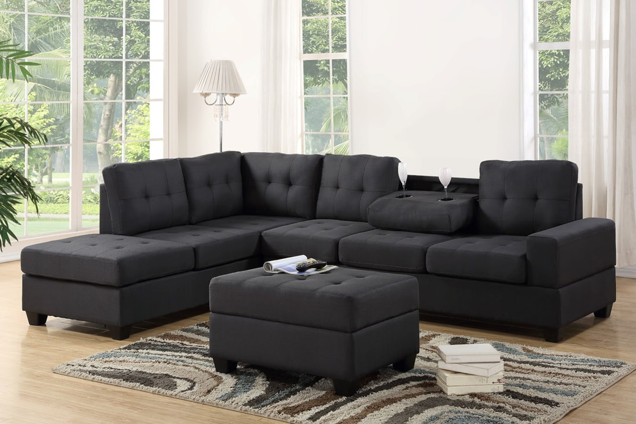 3 pcs heights fabric leather sectional with drop down cup holder with ottoman in gray