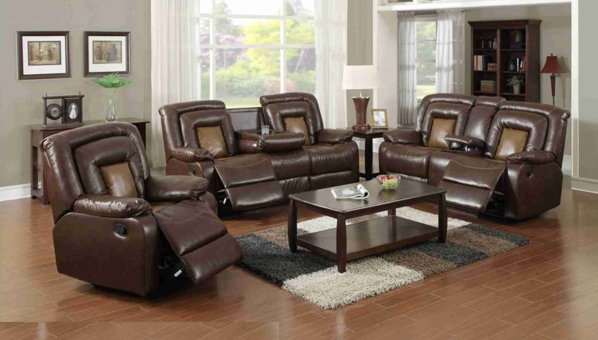 recliner living room set how to decorate a small traditional 3 pcs 2 tone sofa loveseat single