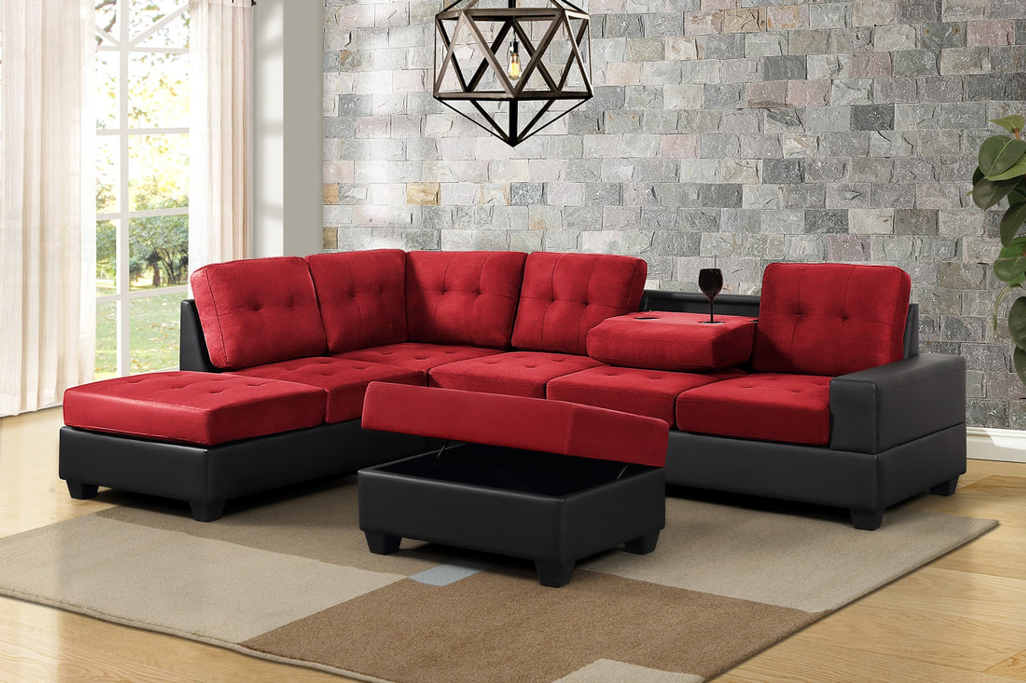 3 pcs heights thick fabric bonded leather sectional with drop down cup holder with ottoman in red