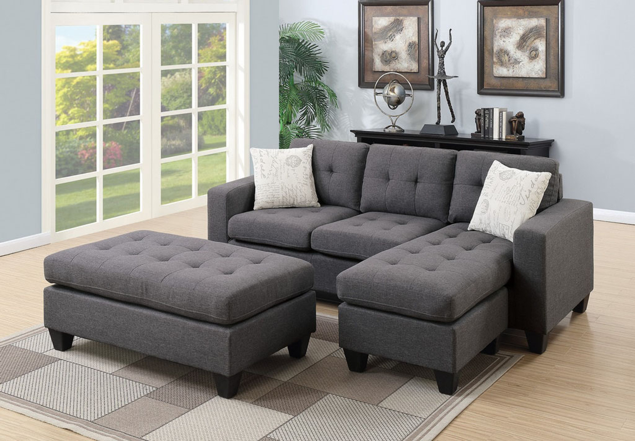 molly all in one sectional set with ottoman in blue gray