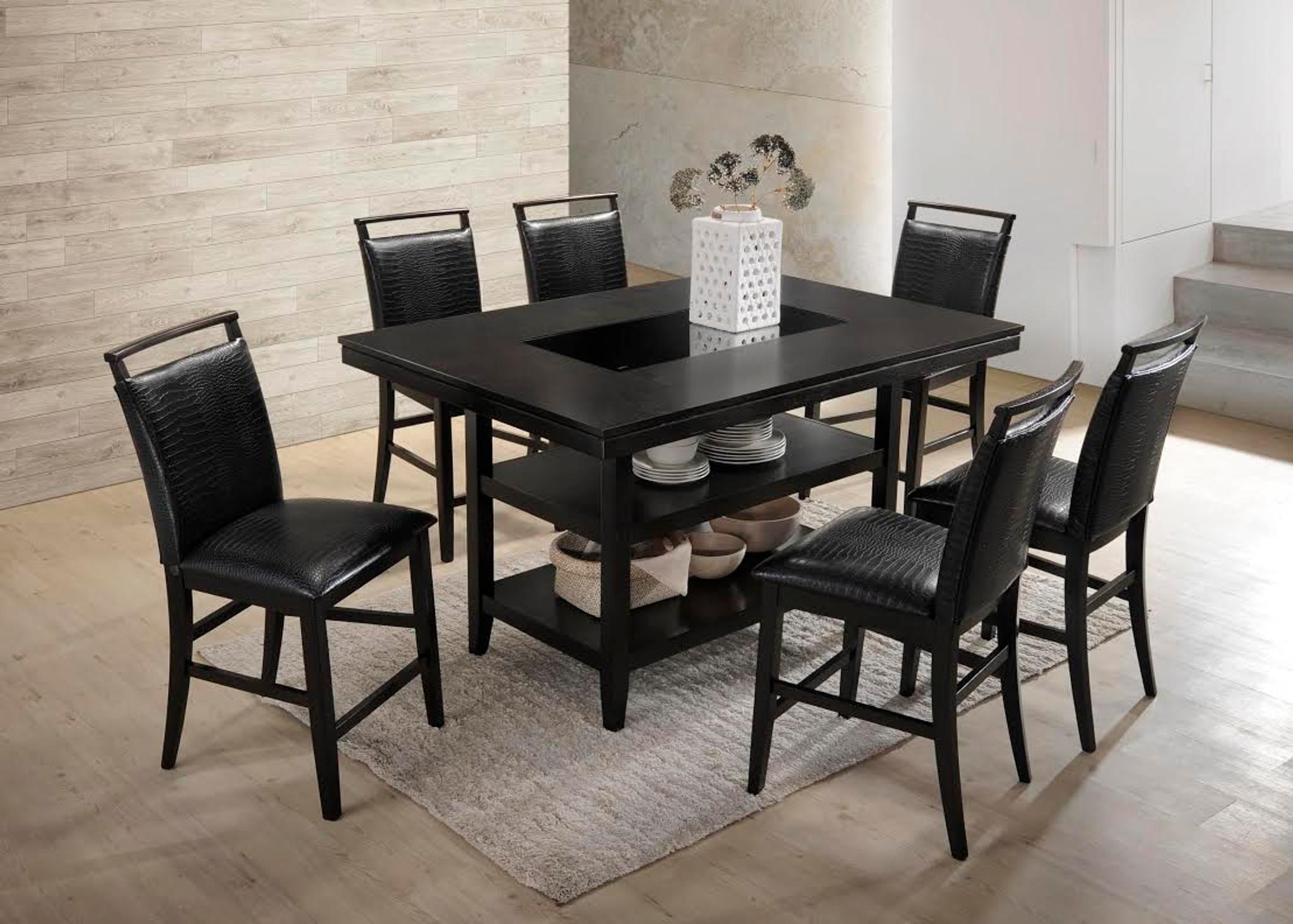 7pcs Black Counter Height Dining Table Set Black Crocodile Upholstery Kassa Mall Home Furniture
