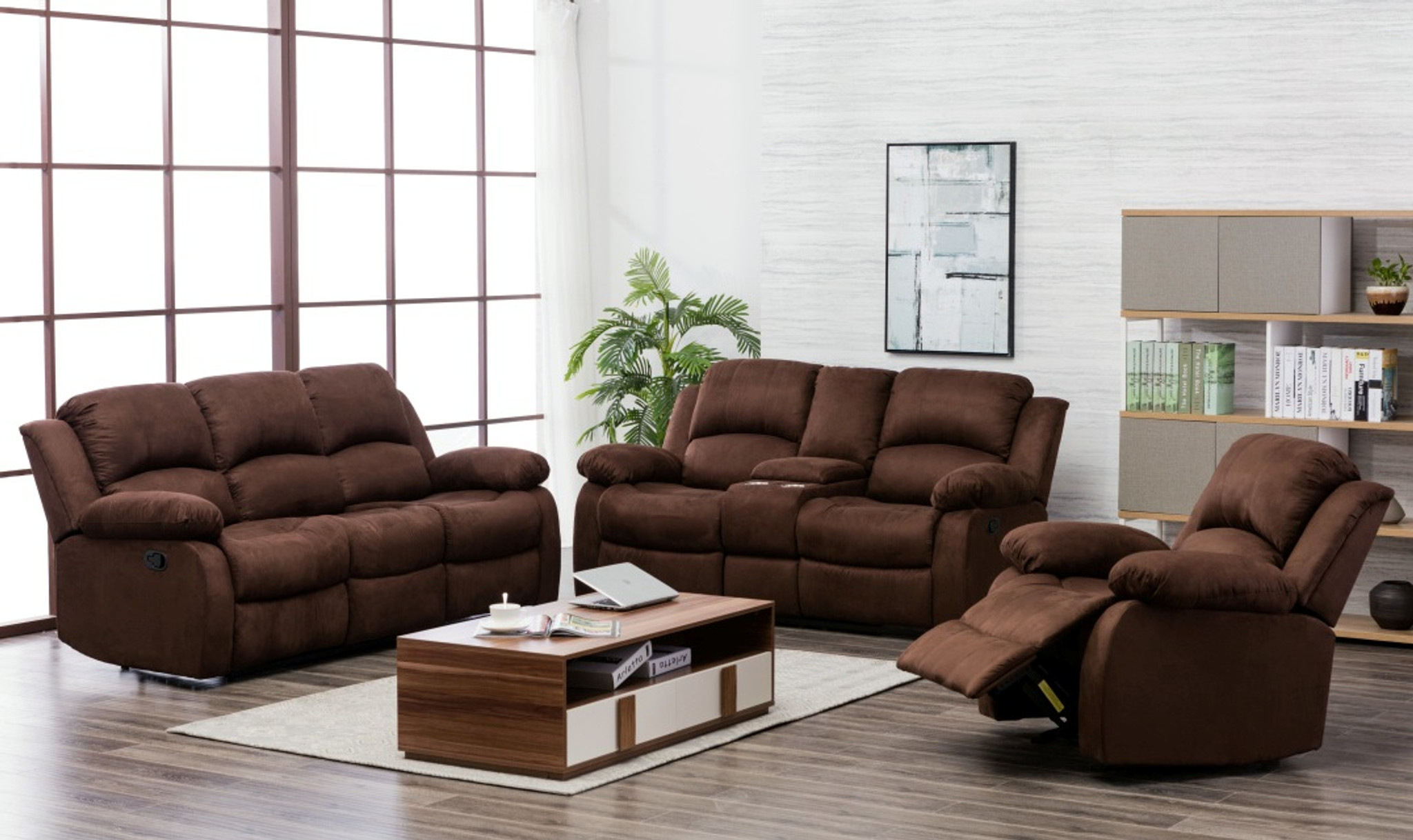 20200 2pcs Microfiber Brown Sofa And Loveseat Set Collection By Happy Homes