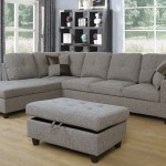 Charcoal Gray Color 3pcs Fabric Sectional Sofa Chaise And Storage Ottoman Km Home Furniture