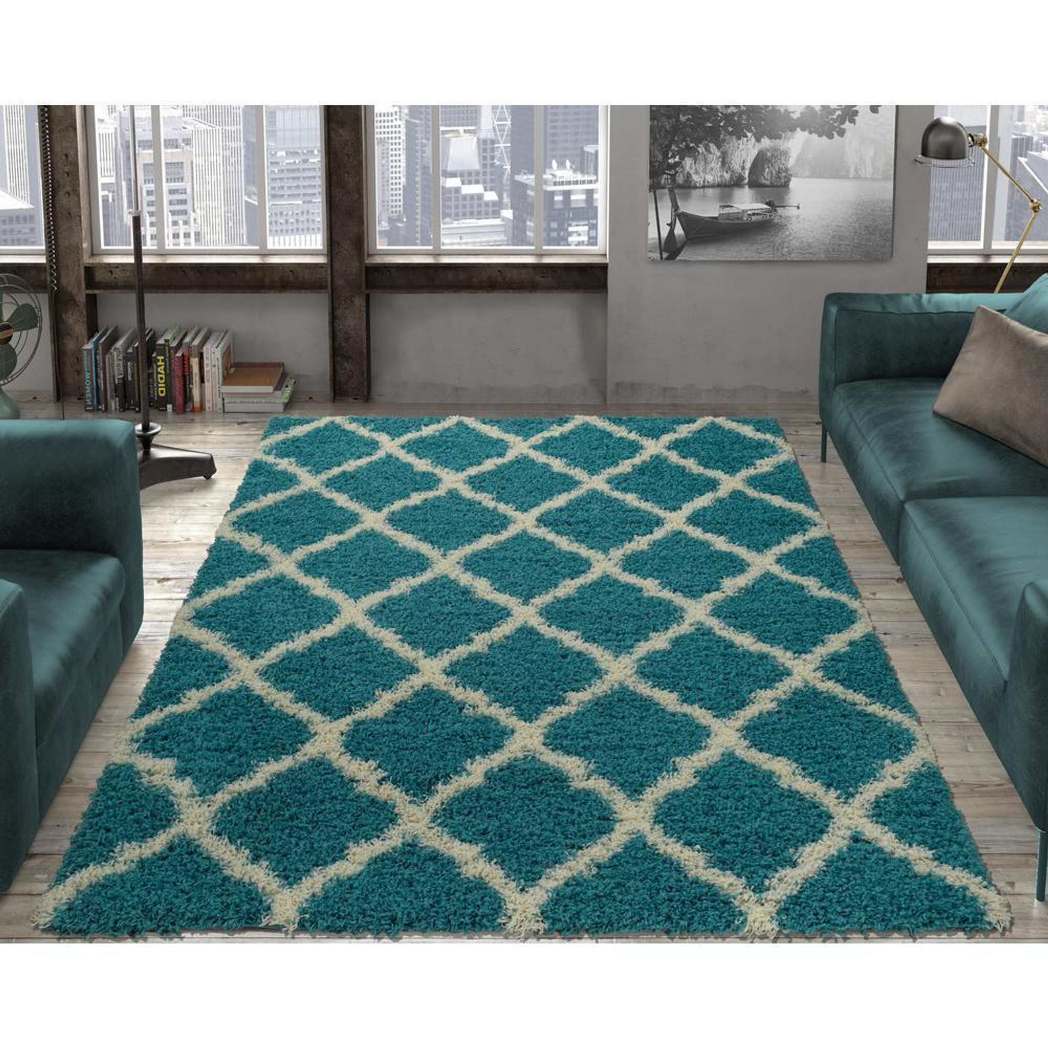 Cozy2276 5x7 Cozy Moroccan Turquoise Shag Area Rug By Km Rugs