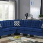 Majestic Blue Velvet Bottom Tufted Reversible Sectional With Accnt Pillows