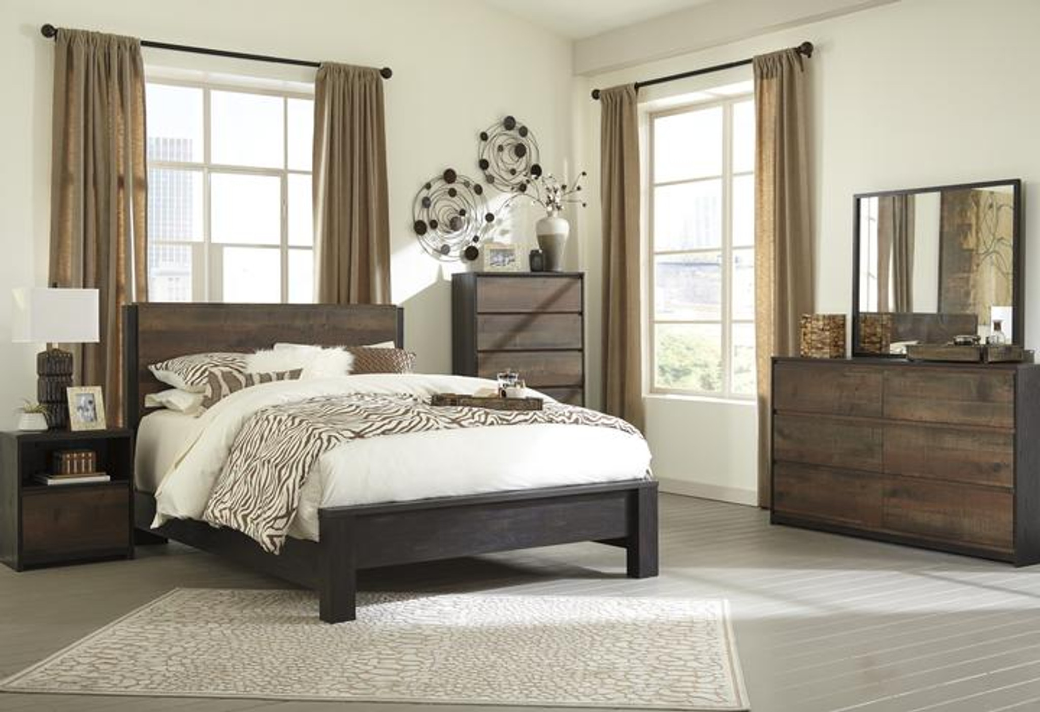 6 Pc Windlore Dark Brown Panel Bedroom Set By Km Home Furniture Houston Texas
