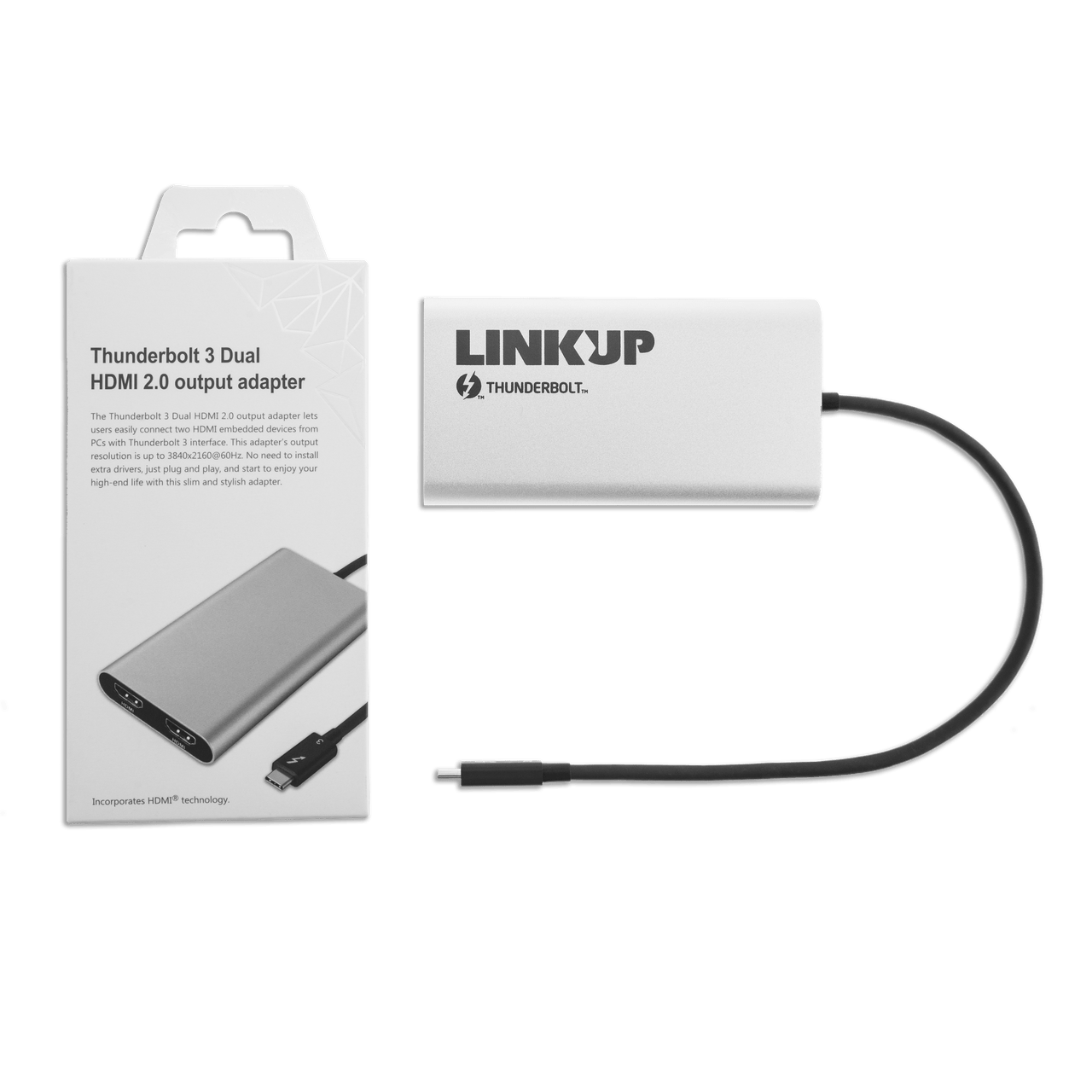 [Certified] LINKUP 2019 Thunderbolt 3 to Dual HDMI 2.0 Ultra 4K 60Hz Adapter for Mac Windows | TB3 Aluminum Case | Not Compatible with USB-C Ports ...