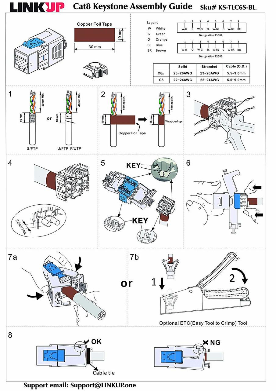 hight resolution of  linkup cat8 ethernet cable connector 1 pack rj45 metal keystone jack die cast field termination
