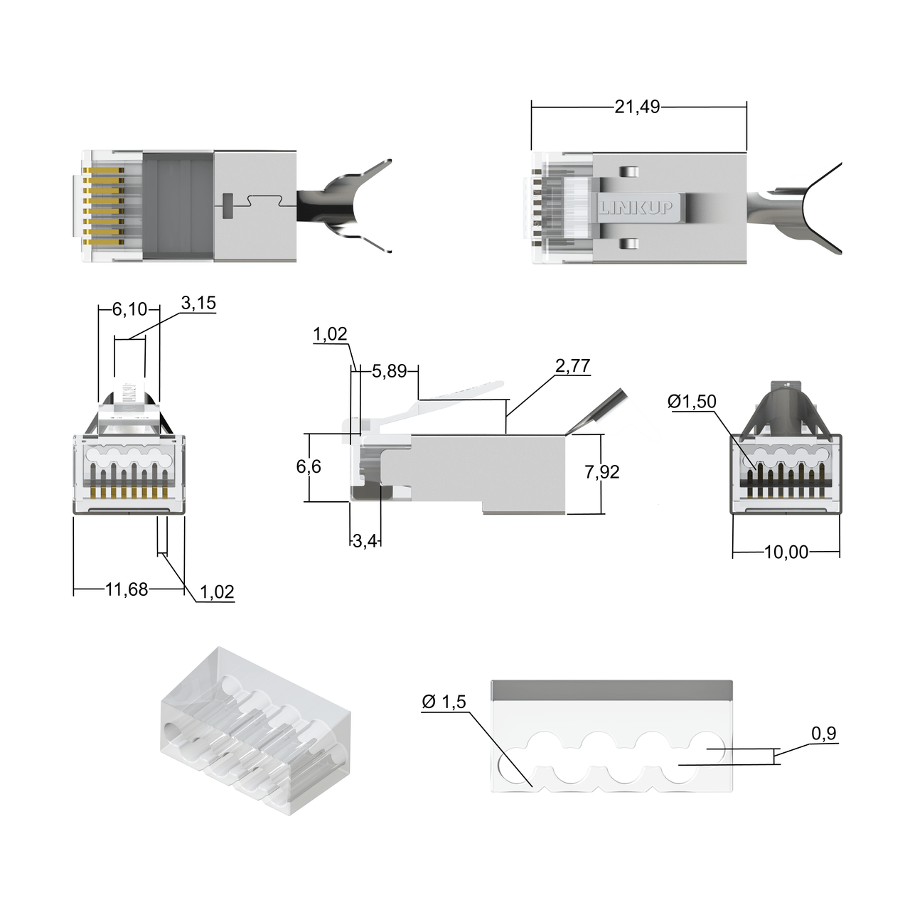 linkup rj45 connectors cat6a ethernet shielded modular plugs for large diameter wires 22awg termination  [ 1280 x 1280 Pixel ]